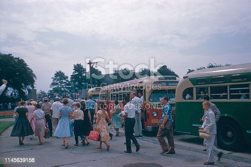 Orchard Beach, Bronx, New York City, NY, USA, 1958. Arrival by bus at Orchard Beach. Here, the new members of the Jehovah's Witness faith community are baptized.