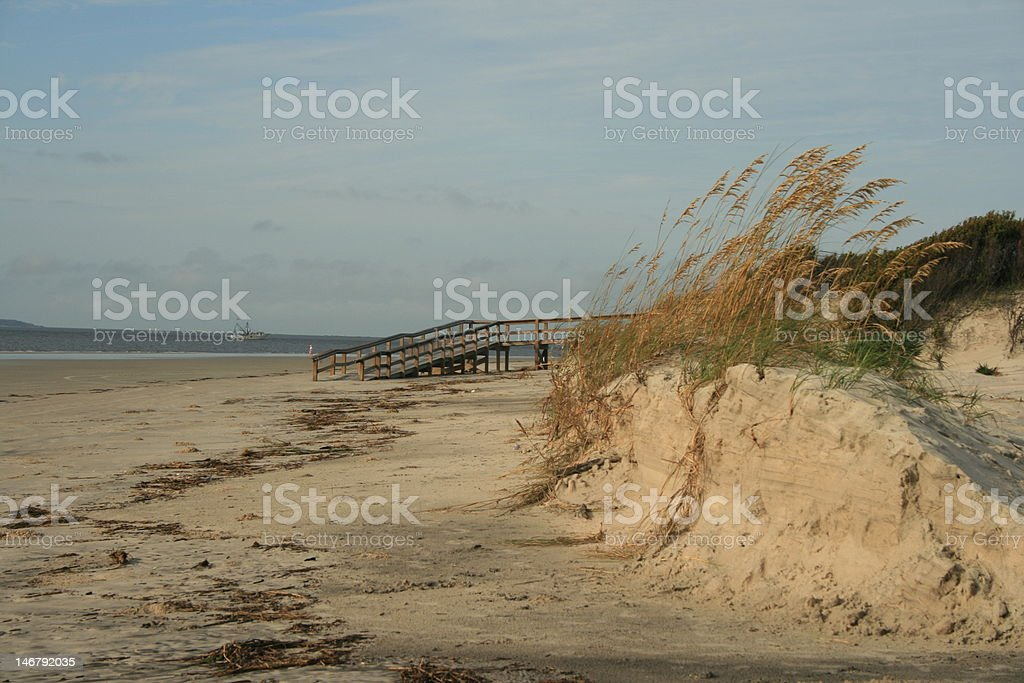 Jekyll Beach with dunes and Sea grass royalty-free stock photo
