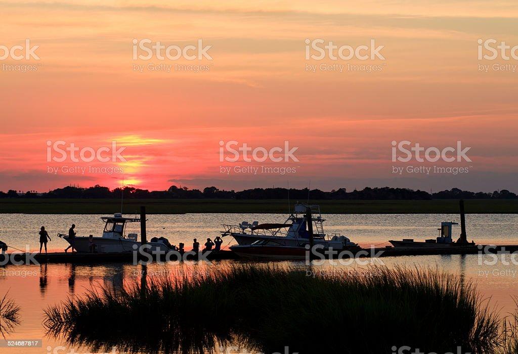 Jekyll Island Sunset Silhouette stock photo