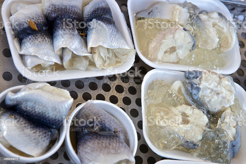 Jellied anguilles à la vente au bord de mer, en Angleterre - Photo