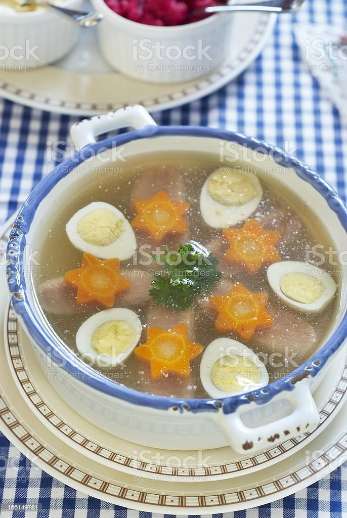 Jellied with beef tongue, carrot and quail eggs royalty-free stock photo