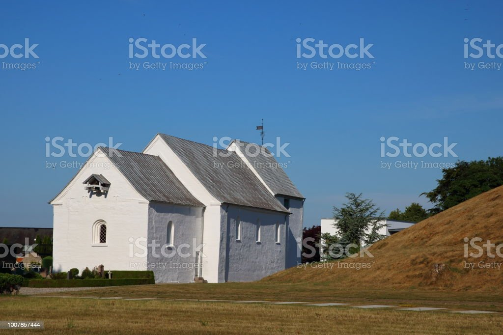 Jelling Kirke Church on Hærvejen the army road pilgrim route stock photo