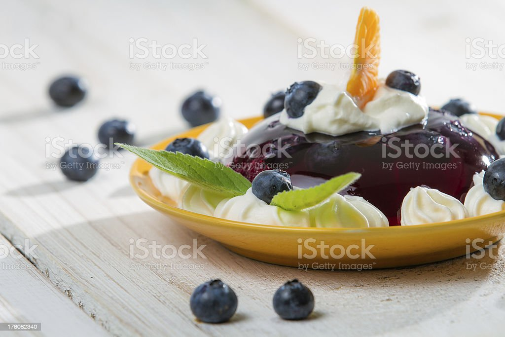 Jelly and fresh berry fruit royalty-free stock photo