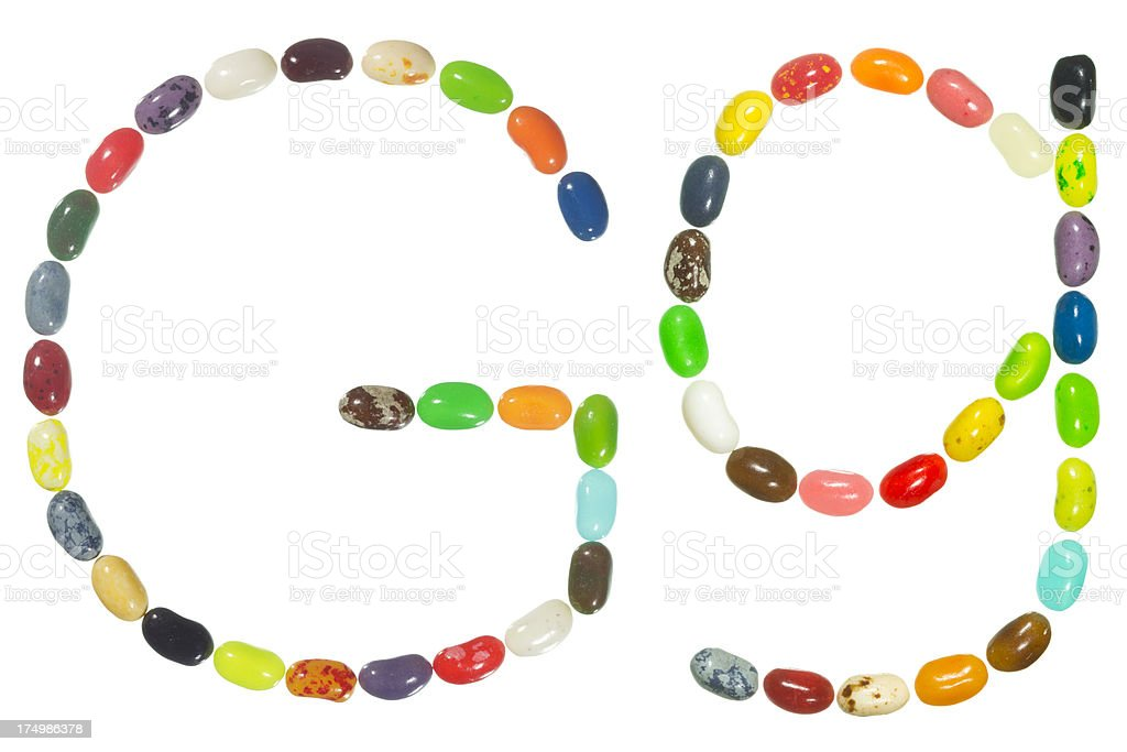 Jelly beans alphabet, upper and lower case letter G royalty-free stock photo