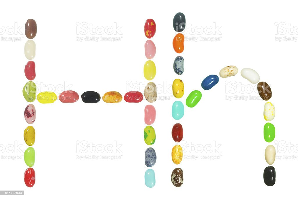 Jelly beans alphabet, upper and lower case letter H royalty-free stock photo