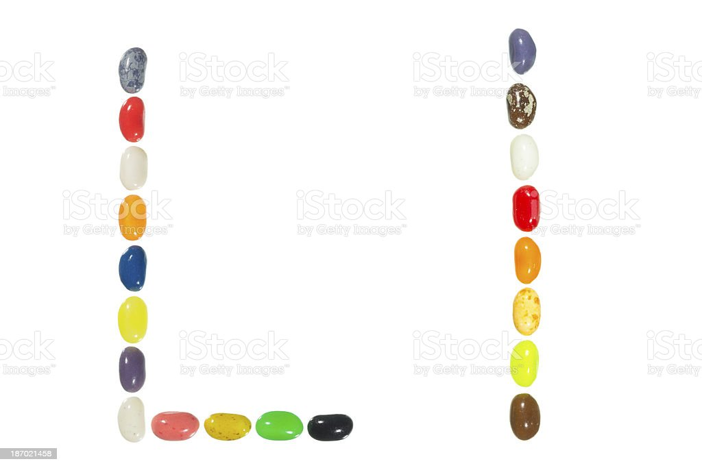 Jelly beans alphabet, upper and lower case letter L royalty-free stock photo