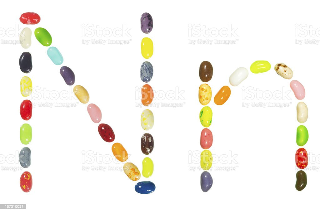 Jelly beans alphabet, upper and lower case letter N stock photo