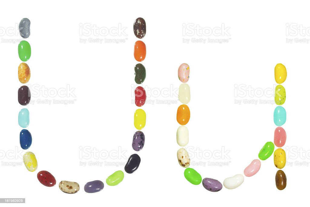 Jelly beans alphabet, upper and lower case letter U royalty-free stock photo