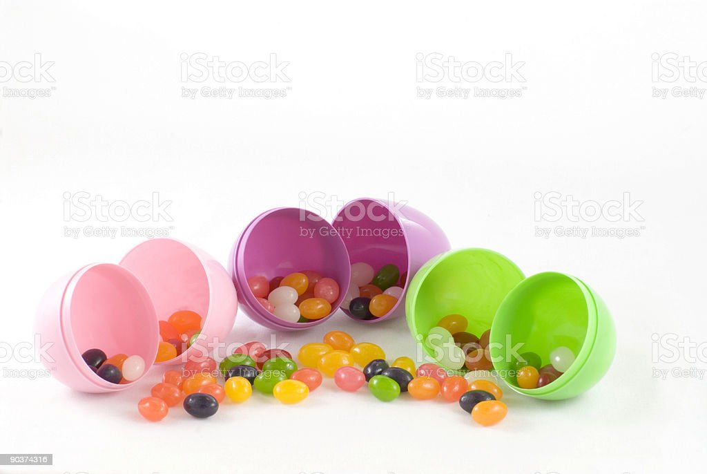 Jelly Beans and Plastic Eggs stock photo
