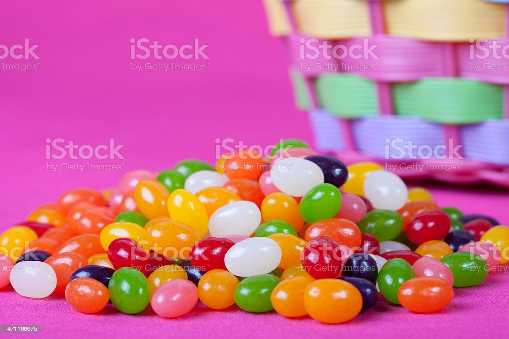 Jelly Beans by Easter Basket stock photo