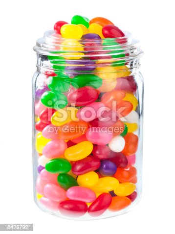 Jellybean sugar candy snack isolated on white