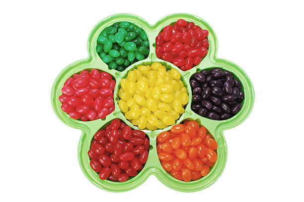 Jelly Beans in Flower Shaped Dish stock photo