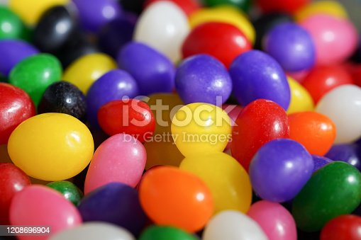 A close up view of a bowl of jelly beans - a sure sign of spring and the upcoming Easter holiday.