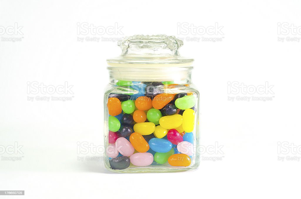Jelly beans sugar candy snack in a jar isolated royalty-free stock photo