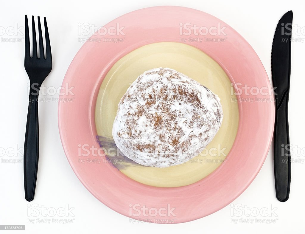 Jelly Filled Donut on a Plate royalty-free stock photo