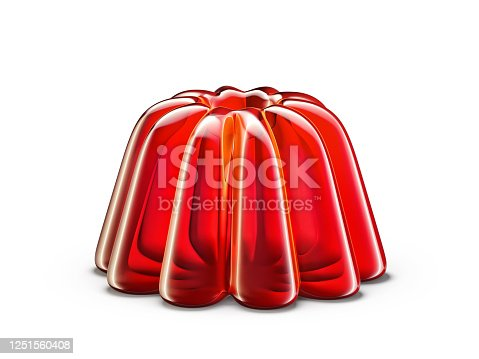 red jelly isolated on a white, 3d illustration