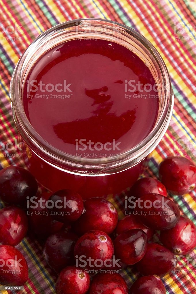 Jelly with Cranberries in Glass royalty-free stock photo