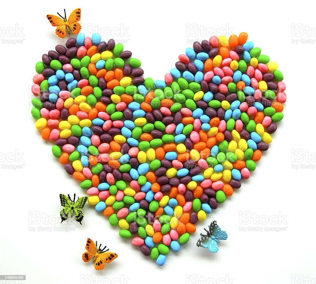 Jellybean Heart with butterflies stock photo