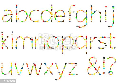Lowercase alphabet set made from jellybeans, isolated on white. Composite file containing 26 full-sized lowercase letters. Each letter was made from scratch (that is, b & d, o &p, etc., look entirely different).