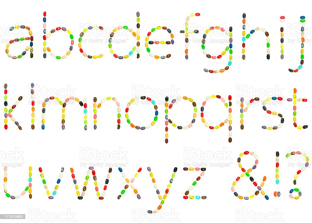 Jellybean lowercase alphabet stock photo
