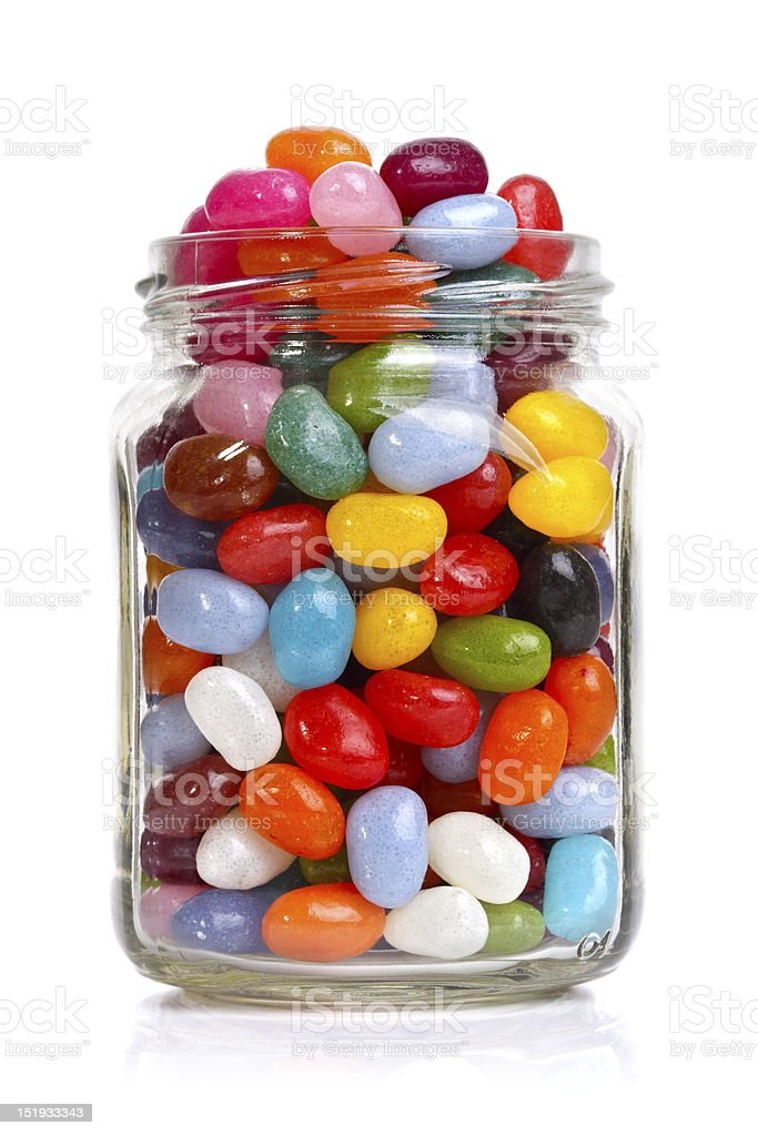 Jellybeans in a jar stock photo
