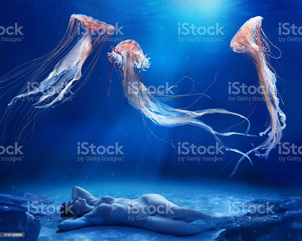 Jellyfish dance stock photo