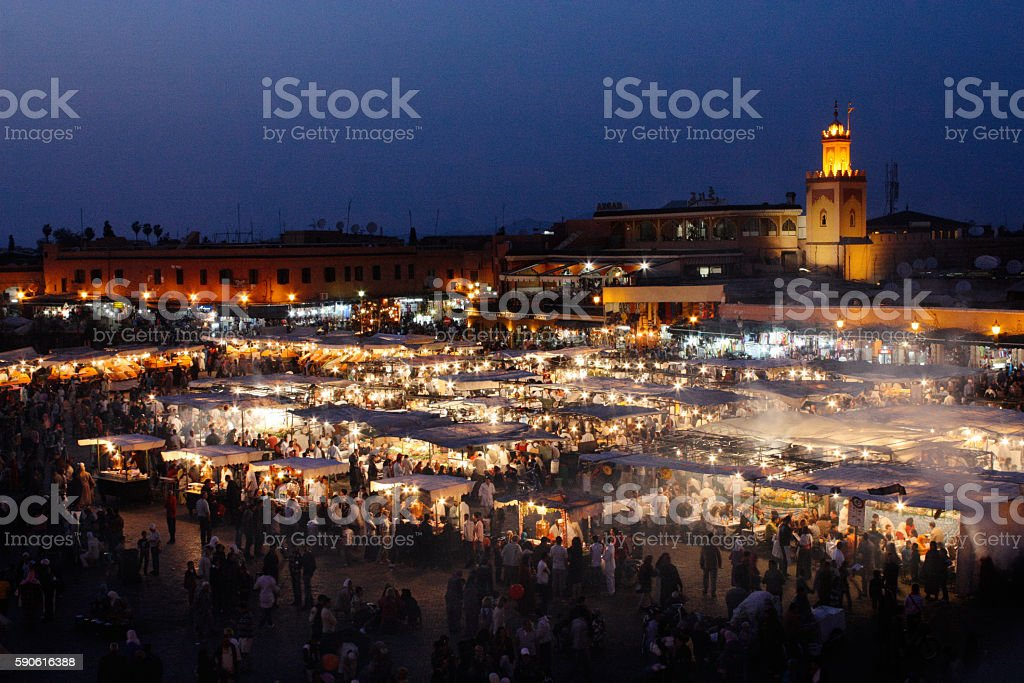 Jemaa El Fna at night stock photo