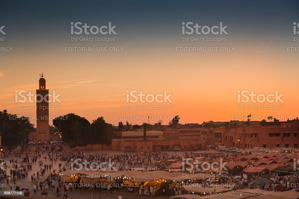 Jemaa el Fna square at sunset, in Marraketch stock photo
