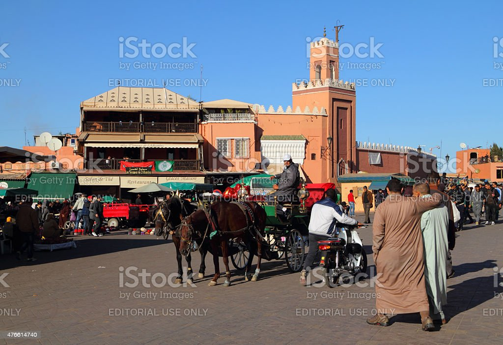 Jemaa El Fna Square, Marrakesh, Morocco. stock photo