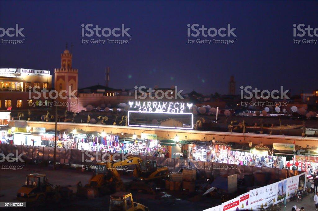 Jemaa el-Fna Market in Marrakech in Morocco stock photo