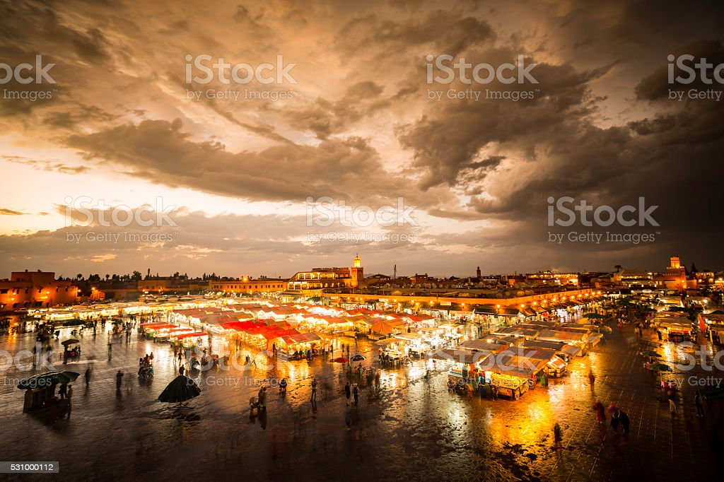 Jemaa el-Fnaa, Marrakesh, Morocco stock photo