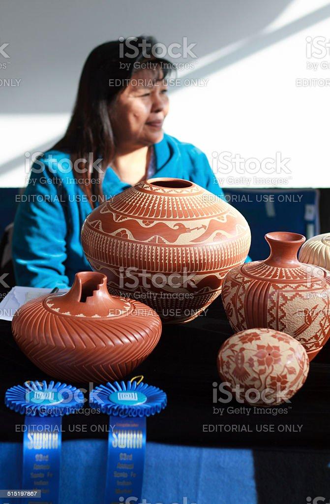 Jemez Pueblo Potter at 2014 Santa Fe Indian Market stock photo
