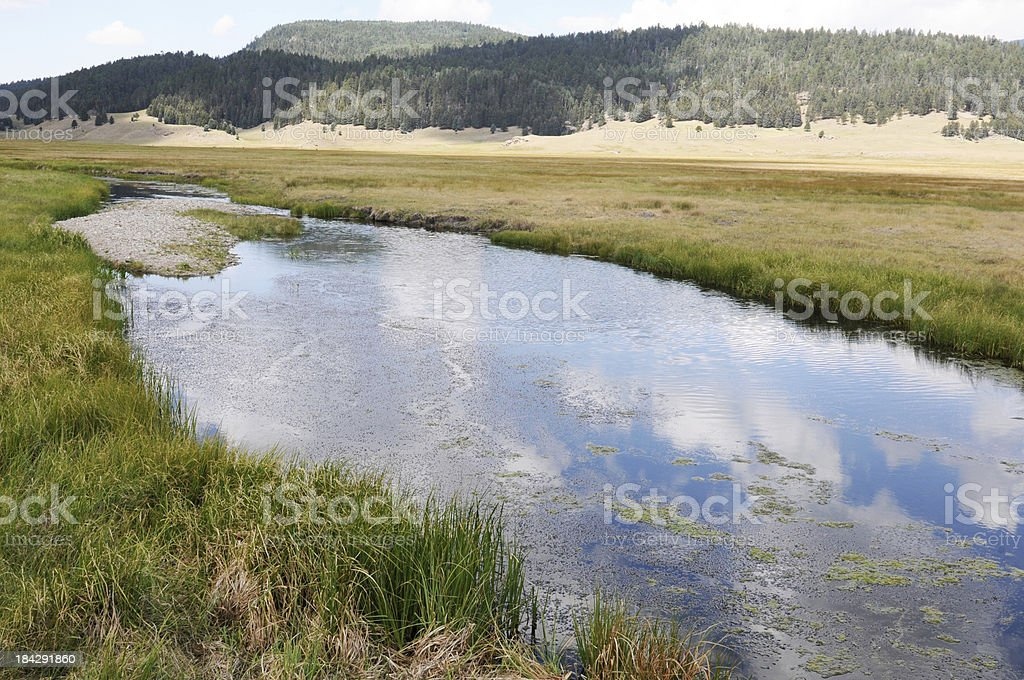 Jemez River and Mountains stock photo