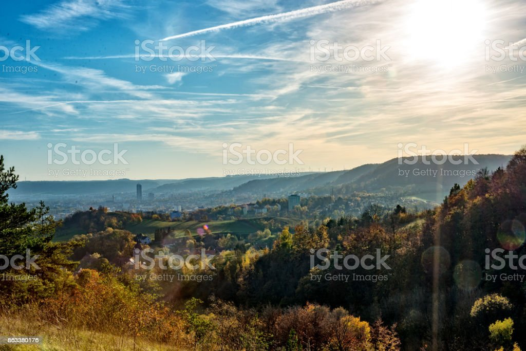 Jena, the city on the Saale in the middle of Thuringia and surrounded by mountains, in golden October. stock photo