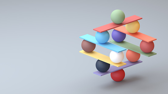 Jenga game color block tower with balls