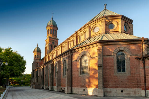 Jeondong Catholic Church, a historic site built in combination of Byzantine and Romanesque architectural styles located near Jeonju Hanok Village in city of Jeonju, South Korea stock photo