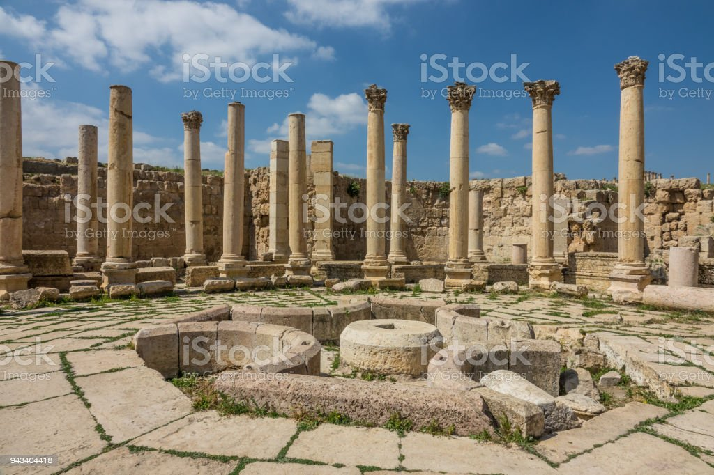 Jerash historic ruins overview near Amman stock photo