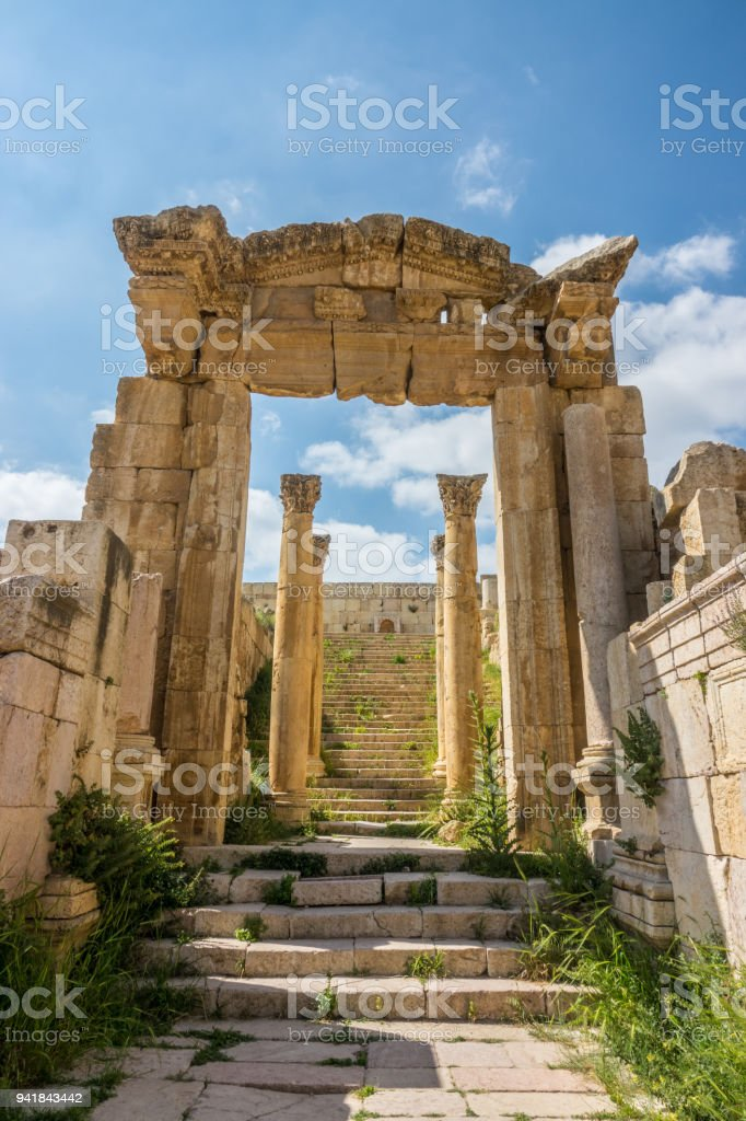Jerash historic ruins stairs and colums detail stock photo