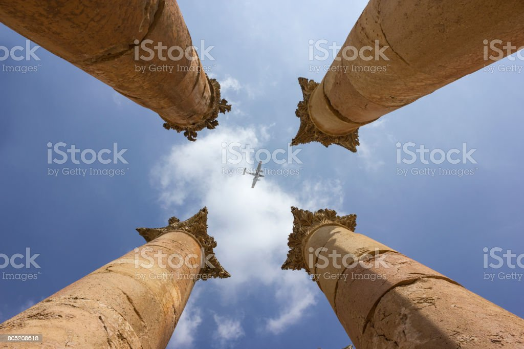 jerash in jordan Columns stock photo