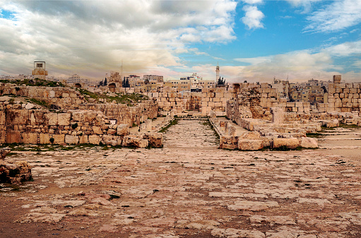 Roman archeological remains in Amman in the capital of Jordan on a cloudy day.