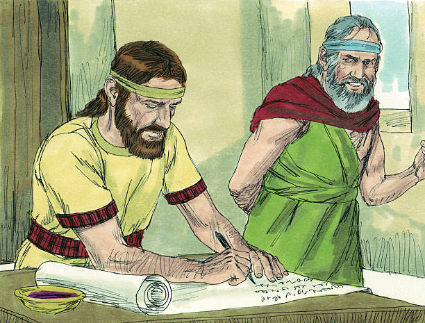 Jeremiah and Baruch Write God's Word on Scroll stock photo