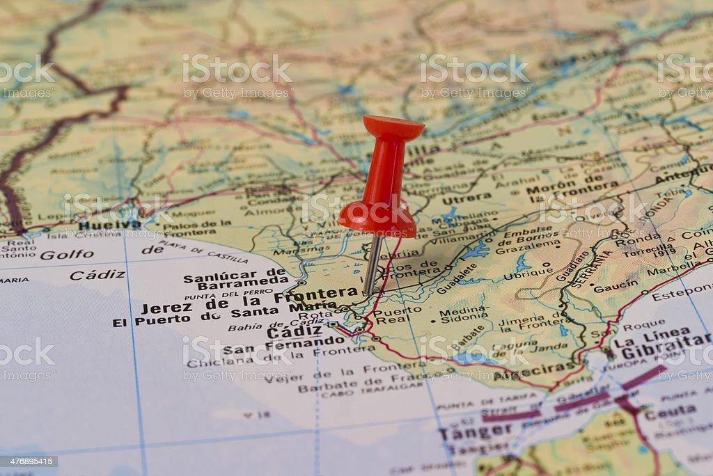 Jerez de la Frontera Marked With Red Pushpin on Map stock photo