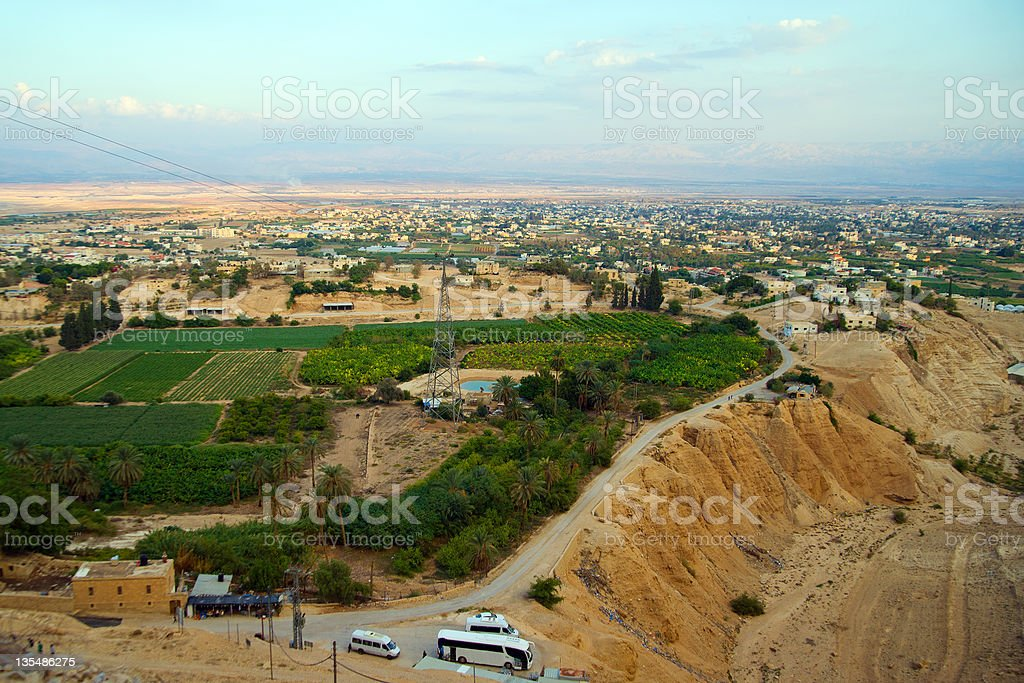 Jericho - aerial view from Mount of Temptation. royalty-free stock photo