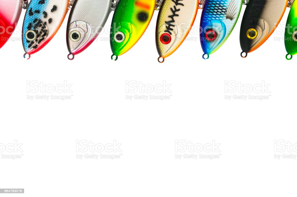 Jerk baits standing in a row stock photo