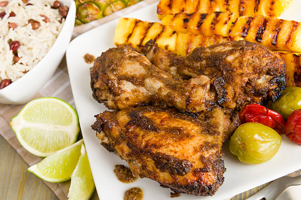 jerk chicken - caribbean food stock photos and pictures
