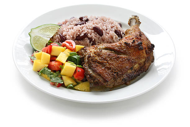 jerk chicken plate, jamaican food - caribbean food stock photos and pictures