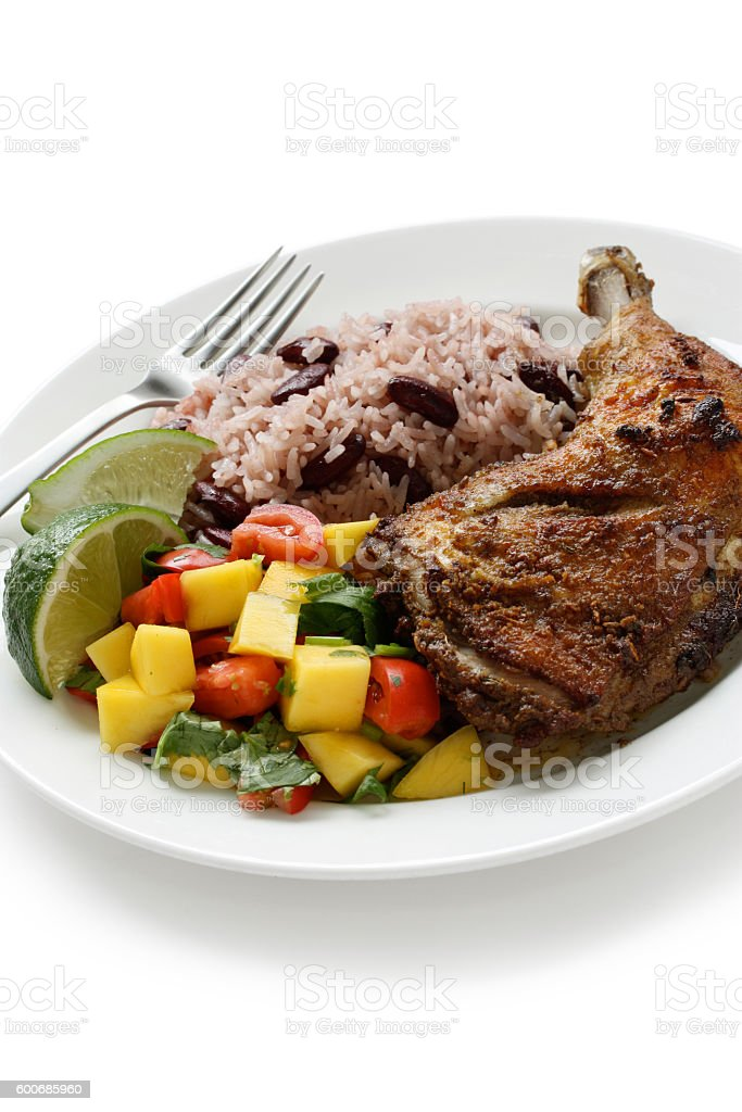 jerk chicken plate, jamaican food stock photo