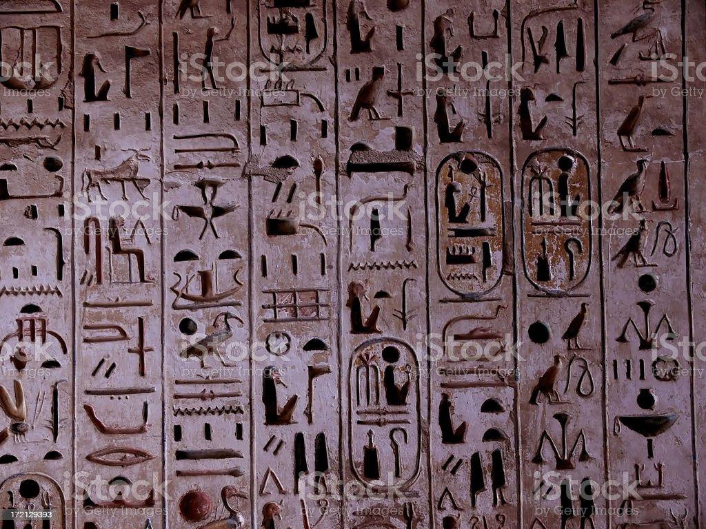 Jeroglífico en un templo egipcio stock photo