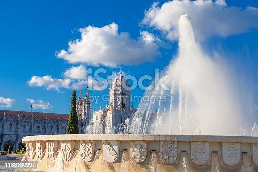 Jeronimos Monastery and fountain in Lisbon