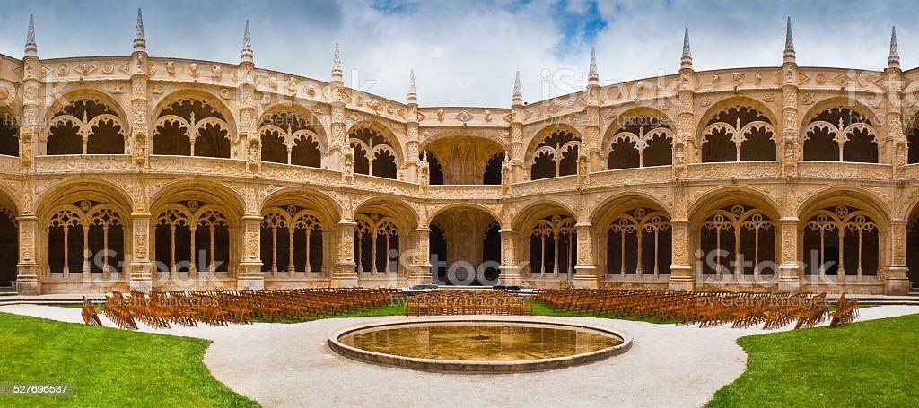 Jeronimos Monastery Cloister Panoramic stock photo